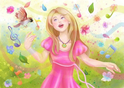 Colorful Spring Singer by SaraHeartArt