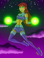 Starfire's starbolts by Alienlina