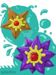 Staryu and Starmie by qstarfire