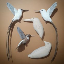 Paper and wood birds in progress by ZackMclaughlin