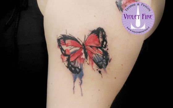 tattoo watercolor butterfly - Adam Raia by Violet-Fire-Tattoo