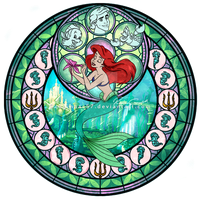 Princess Ariel - Kingdom Hearts Stain Glass Circle by reginaac57
