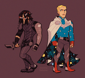Winter Soldier and Captain America in Asgard by oxboxer