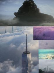The adult Clover compared to buildings in clouds by Pyro-raptor