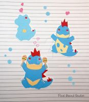 Totodile/Croconaw/Feraligatr Stickers and Magnets by pixelboundstudios