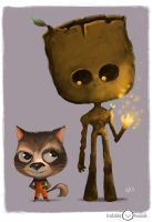 Bubbleheads: Groot and Rocket by JeffVictor