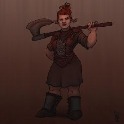 Axe lady [Character Design] by GiovaBellofatto