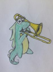 Isa playing the Trombone by puffedcheekedblower