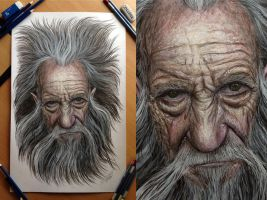Old man Pencil Drawing by AtomiccircuS