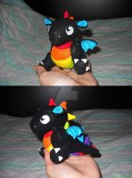 Rainbow dragon plushie by Tikkaaa