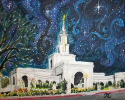 Sacramento California LDS Temple Starry Night by Ridesfire