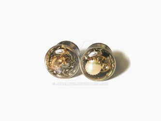 00g 1 PAIR Single Flare Steampunk Tunnels Gauges by jewelryfx