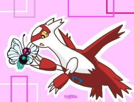 latias and butterfree by haruka-wolf
