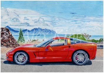 Car Drawing Chevrolet Corvette by AlexKingART