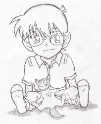 Detective Conan and Kitty by shar90
