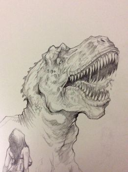Zombie Rex sketch wip by DW Miller by ConceptsByMiller