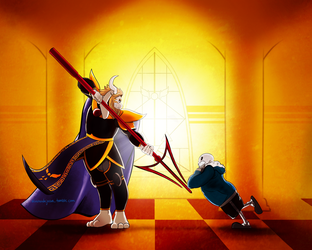 Asgore and Sans by Midnight94