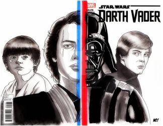 Darth Vader 2 sided Sketch Cover by nathanobrien