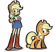Drawing Test EQG: Applejack by KingToby19