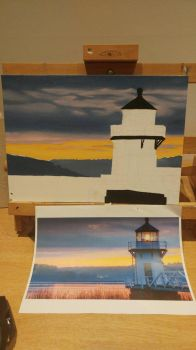 Lighthouse at Dawn WIP (part 2) by MistressJainali