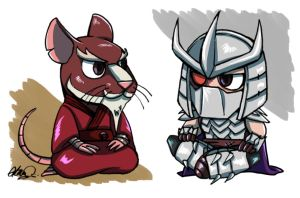 The Chibi Splinter and Shredder by athena-i