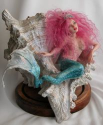 mermaid in the shell by polymer-people