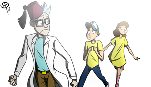 Grunkle Rick and the twins by Chillguydraws
