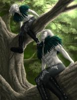 Ravens in a tree (Wyrm blood commission) by Destinyfall