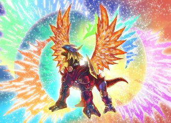 Ancientgreymon rainbowxplosion by Noki001