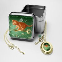 Fairy Cat Gift Tin and Locket by MelissaDawn