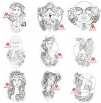 tattoo outlines 9 pcs pack part 4 free download by MWeiss-Art