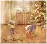 Christmas Card with Teddies by mary-petroff