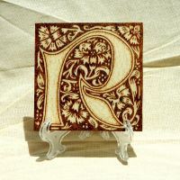 William Morris monogram personalized wooden tile by YANKA-arts-n-crafts