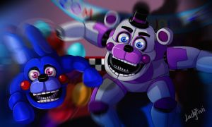 FNAF SL - Funtime Freddy and Bonbon by LadyFiszi