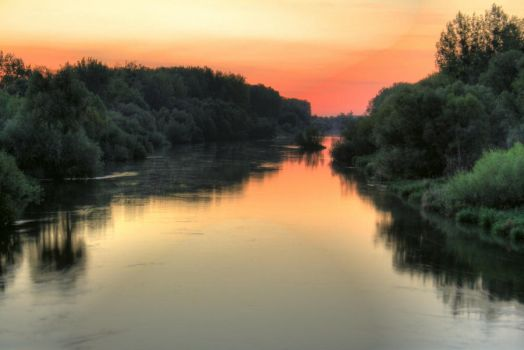 River at dawn HDR by zseliakiraly