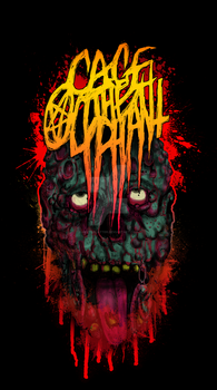 Cage the Olyphant: Lock Jaw Death Metal Logo Tee by meatsplatter