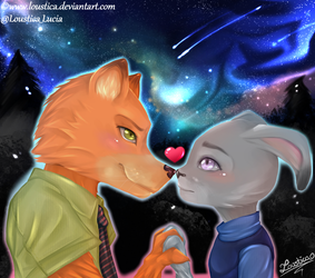 Zootopia - Nick Wilde and Judy Hopps by Loustica