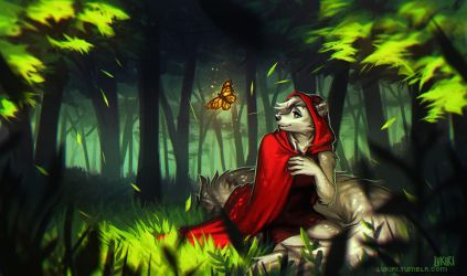 A wolf and a red cloak by Lukiri