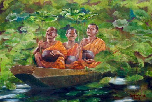 3 Monks in Boat by j0rosa
