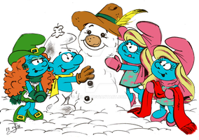 Christmas Smurfy Snow Frolic by acla13