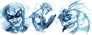 Underwater Brooding Sketches by DrMistyTang