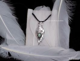 'Leafeon with labradorite' sterling silver pendant by seralune