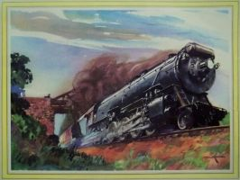 Otto Kuhler Railroad Art - Fast Freight by PRR8157