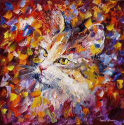 Old Cat by Leonid Afremov by Leonidafremov