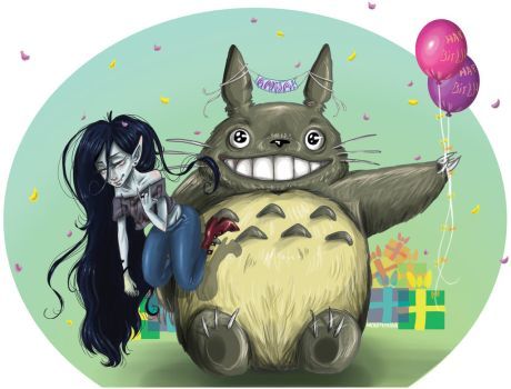 Vampire Queen + Totoro Birthday Commission A by Hayley-Hyuga