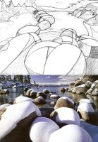Snow on Rocks by Shpout