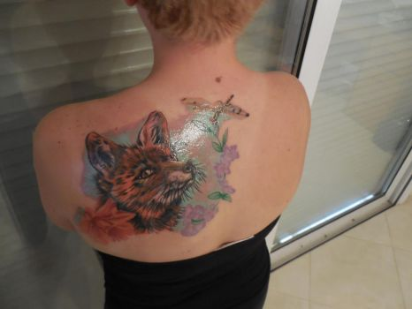 Fox and Dragonfly Tattoo by ariastrife
