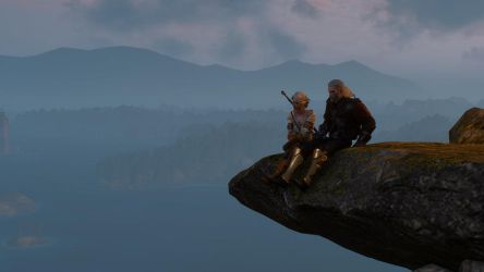 The Witcher 3 Geralt and Ciri At The Top Wallpaper by Crishark