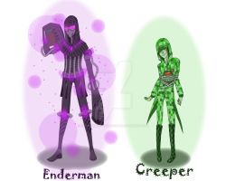 Enderman and Creeper by Anonymous-Anime-Fan