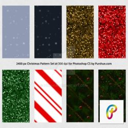 Free Christmas Photoshop Pattern Set 2400px 300dpi by Purshue